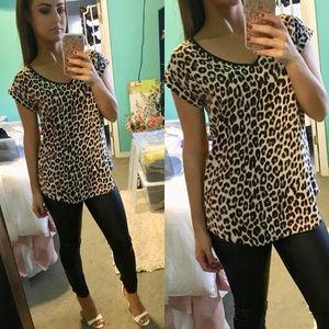 Express Leopard Silky V-neck Rolled Sleeve Blouse